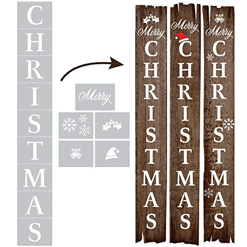 Christmas Stencil for Painting on Wood Reusable, Own DIY Projects, Gifts and More, Easy to Use Large Letter Stencil – Horizontal and Vertical, Set of 6 Pieces (Christmas Stencil)
