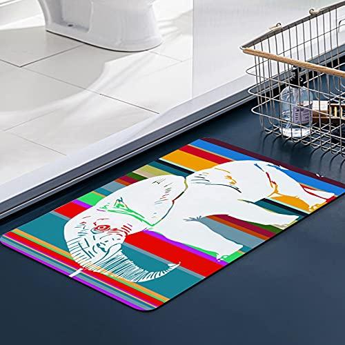 FengYe Carvapet Tapis Cuisine Antidérapant Éléphant Design Graphique Clipart vectoriel Tapis de Douche Moelleux en Microfibre,Absorbant l