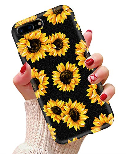 iPhone 7 Plus case, iPhone 8 Plus case, AIKIN Simply Designed Flower Pattern Case Soft TPU Flexible Case Shockproof Protective Cute Case for iPhone 7 Plus, iPhone 8 Plus (Sunflower+ Black)
