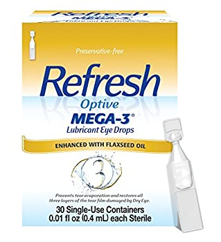 Refresh Optive Mega-3 Lubricant Eye Drops Preservative-Free 0.01 Fl Oz Single-Use Containers 30 Count