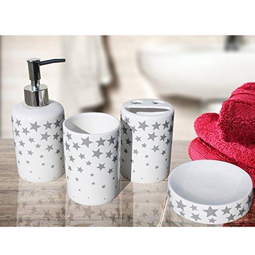 Pink Panther GmbH kostenloser Versand Bada Bing 4tlg. weiß Badezimmer Set Stern Keramik Seifenspender Zahnputzbecher Seifenschale grau Star