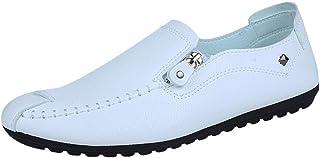 Oyedens Uomo Pelle Mocassini Scarpe da Guida Slip On Morbida Piatto Scarpe da Barca Pantofola di Moda Round Toe Sewing Fla...
