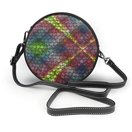 Wrution Banner Kopfzange Kaleidoskop Spiegel Reflektion Rund Cross-Body Reißverschluss Schultertasche Weiches Leder Kreise Geldbörse für Damen