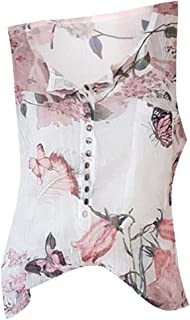iTLOTL Blouses for Women Casual Floral Printed Button T-Shirt Chiffon Irregular Hem Top