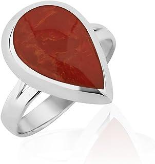 Chuvora 925 纯银红色树脂,重组绿松石或Lapis Lazuli 梨形戒指,尺寸 6-8