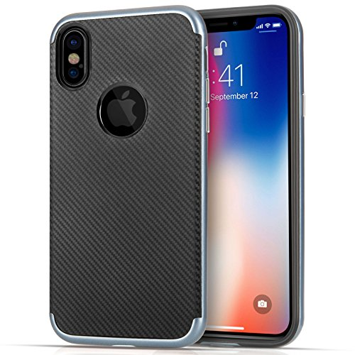 Custodia per iPhone X, Custodia per iPhone 10, Centopi in Fibra di Carbonio Serie Ibrida Assorbi-urti con Cuore in TPU...