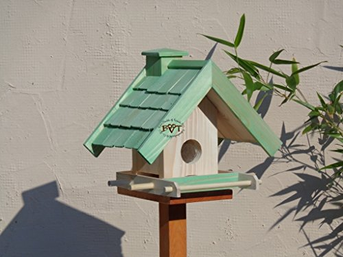 Vogelfutterhaus,BEL-X-VOWA3-moos002 Großes Vogelhäuschen + 5 SITZSTANGEN, KOMPLETT mit Futtersilo + SICHTGLAS für Vorrat PREMIUM Vogelhaus – ideal zur WANDBESTIGUNG – vogelhäuschen, Futterhäuschen WETTERFEST, QUALITÄTS-SCHREINERARBEIT-aus 100% Vollholz, Holz Futterhaus für Vögel, MIT FUTTERSCHACHT Futtervorrat, Vogelfutter-Station Farbe grün moosgrün lindgrün natur/grün, MIT TIEFEM WETTERSCHUTZ-DACH für trockenes Futter - 2