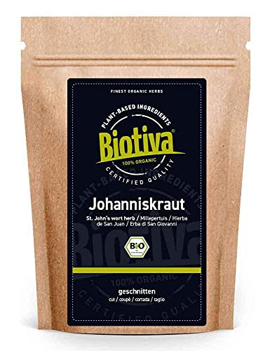 Johanniskraut Tee Bio 100g- Echtes Johanniskraut, geschnitten - Hypericum - abgefüllt und kontrolliert in Deutschland (DE-ÖKO-005)