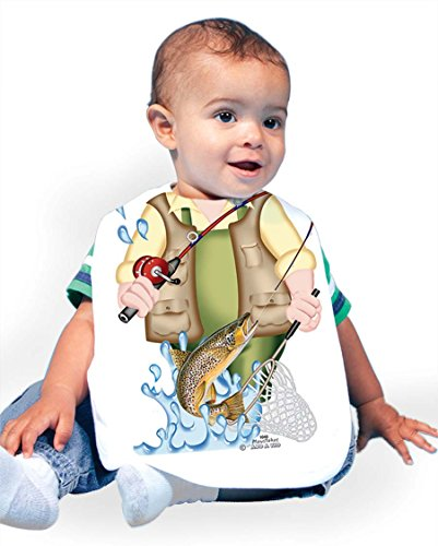 Just Add A Kid Baby Boy's Fishing for Trout 1040 Baby Bib 0-6 Months White