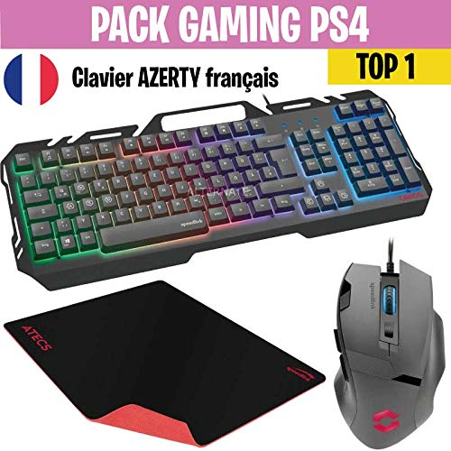 Pack Gaming Clavier + Souris + Tapis compatible PS4 - TOP1