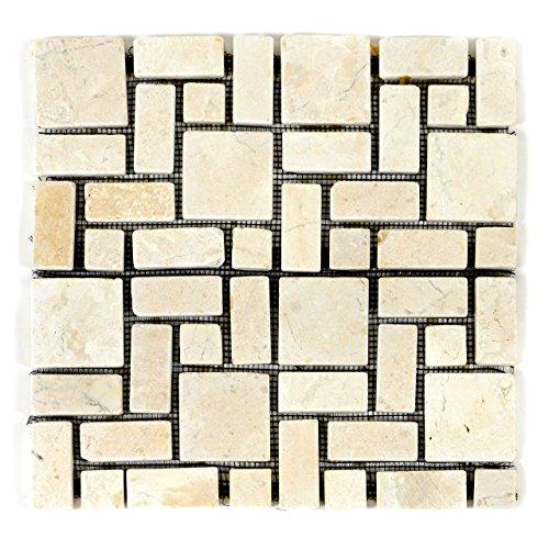 Divero HF55535 11 Fliesenmatten Naturstein Marmorfliesen Mosaik römischer Verband Creme á 30 x 30 cm