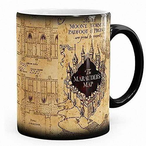 Tazza termosensibile nera con stampa della 'mappa del malandrino' di Harry Potter, tazza magica cambia colore (lingua italiana non garantita)