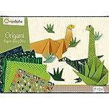Avenue Mandarine KC040O - Caja creativa origami Initiation Dino con 40 hojas de papel origami, una tabla de pegatinas y 10 modelos de plegado