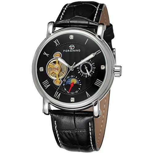 forsining fase de la luna de piel auténtica hombre automático reloj de pulsera...