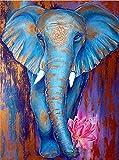 Kit de pintura de diamantes 5D,Elefante animal azul simple Bordado redondo del punto de cruz del diamante del taladro para los niños de los adultos, para la decoración casera