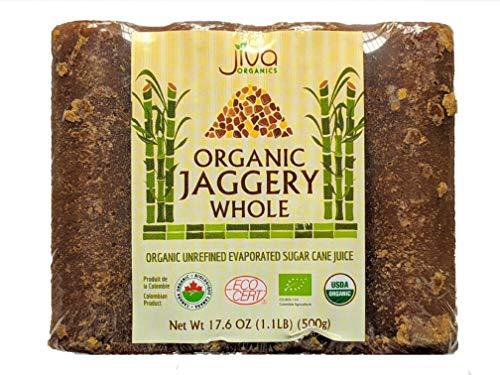 Jiva Organic Jaggery Whole (Gur, Panela) 0.5 kg (500 g) – Azúcar sano crudo/caña de azúcar orgánica