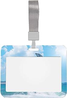 Protecteur de badge 4x3 sautant les porte-badges d'identification de dauphin heureux avec lanière Style horizontal protect...