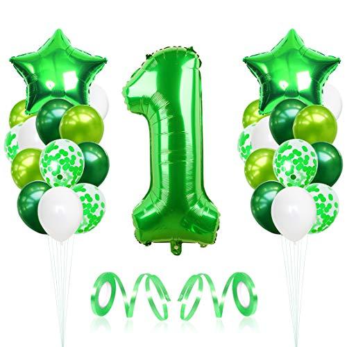 Bluelves 1 Globos de Cumpleaños, Globo 1 Año, Globo Numero 1, Decoracion Cumpleaños Niño, Globos Grandes Gigantes Helio Verde, Globos para Fiestas de Cumpleaños