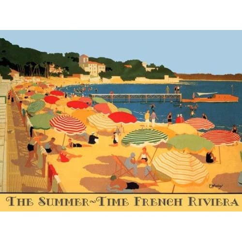 PERRIER WATER COUPLE EMBRACE BEACH FRENCH LARGE VINTAGE POSTER REPRO