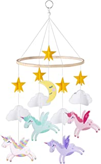 FIOBEE Baby Crib Mobile Unicorn Crib Mobile for Infant, Planets Baby Mobile Decoration for Boys and Girls Nursery Décor for Baby Shower Gift with Stars Cloud and Moon