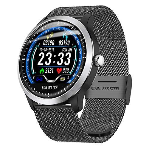 N58 Smartwatch Fitness Armband | Pulsmesser Tracker IP67 Wasserdicht, EKG Messung, Schlaf Monitor Kalorienzähler GPS, Sport Fitness Tracker für Damen Herren mit iOS Android (Milanese❤️ Schwarz)