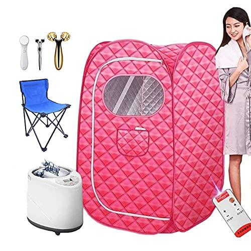 Gettop 1000W Portable Größeres Zelt - Zuhause Persönlich Spa - Sauna Dampferzeuger mit 3D Roller Face Massager und Klappstuhl - für Gewichtsreduzierung, Feuchtigkeit und Schönheit