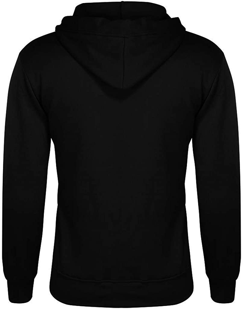 HONGJ Men's Zipper Hoodies, 2021 Fall Fashion Inkjet Gradient Patchwork Long Sleeve Hooded Sweatshirts Workout Jackets