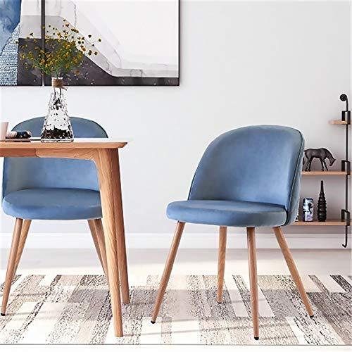 TPLIK 2-Piece Set Retro Vintage Armchair Upholstered Chair Velvet Lounge Chair Club Chair TV Chair Blue