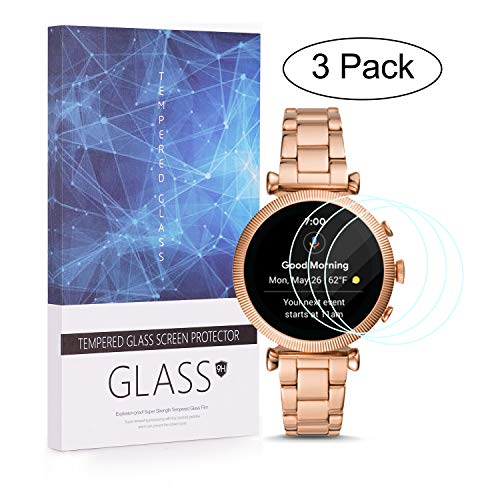 BECEMURU Fossil Gen 4 Smartwatch Screen Protector 9H Full Coverage Screen Tempered Glass Protector voor Fossil SLOAN HR(GEN 4 SMARTWATCH) (3 Pack)