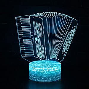 Beautiful Gift 3D nightlight Illusion lamp,Music Instrument Accordion Theme Lamp LED 7 Color Change Touch Mood Lamp Dropshippping for Boys-Remote Control Colourful