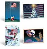 Assorted Patriotic Christmas Card - 16 Holiday Cards & Envelopes - American Flag, USA