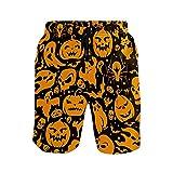 NO Bañador para hombre con bolsillos para Halloween, calabaza, secado rápido, pantalones cortos de playa con cintura elástica y forro de malla, multicolor, L