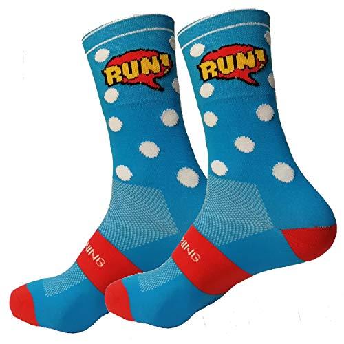 HOOPOE Running 2 Paar Half Cut Socks, Sportsocken, für Damen & Herren, Lustig, Nahtlos, Schwitzfähig, Gelb #Comic, Größen 36-45 (36-40)