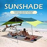 Beach Tent Sun Shelter Outdoor Shade for Camping Trips, Fishing, Backyard Fun or PicnicsPortable Waterproof (10X10FT, 6ft Tall 2 Pole,Green)