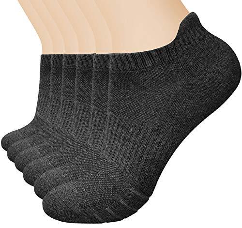 Voqeen 6 pares de Calcetines de Ceporte Acolchados para Hombre calcetines de algodón, calcetines de entrenamiento, para hombres y mujeres, de corte bajo, antiampollas, calcetines atléticos