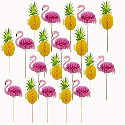 Samantha 20 Piezas Toppers de Magdalenas de piña, Toppers de Pastel de Flamenco, Decoración para Fiesta de Verano, Pastel de Fiesta Tropical, para Fiesta de Cumpleaños de Boda Tropical de Luau Hawaii