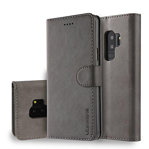 yanzi Funda Samsung Galaxy S9 Plus Funda Carcasa Silicone Case Samsung S9 Plus Funda Protectora Gris móvil Cover Libro Caso Cubierta Magnética Billetera Cuero Samsung S9 Plus Carcasa