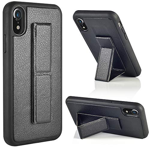 ZVEdeng iPhone XR Case, iPhone XR Kickstand Case, Vertical and Horizontal Stand Foldable Magnetic Kickstand Phone Strap Case Slim Protective Leather Stand Case for Apple iPhone XR 6.1 Black