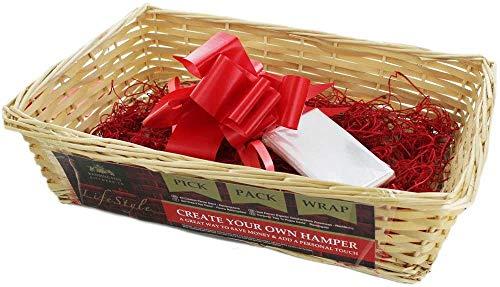 Ossian Make Your Own Hamper Kit - Juego de cesta de regalo de mimbre de lujo con cinta de embalaje de paja, añade un toque personal con amigos familiares compañeros de Navidad (rectangular natural)