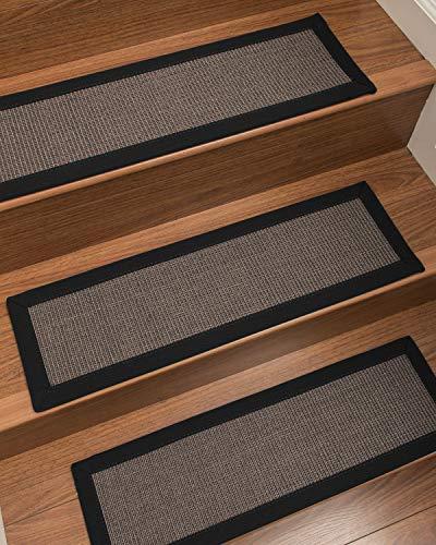 "Natural Area Rugs Dark Grey Big Sur DIY Pet Friendly Handmade Sisal Carpet Stair Treads/Rugs Safety Slip Resistant for Kids, Elders, and Dogs. 9"" x 29"" (8), Black Border"