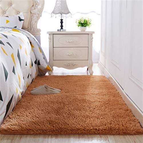 Jnszs Alfombra gruesa de pelo de seda lavada, antideslizante, para sala de estar, mesa de café, cojín suave, alfombra para dormitorio (color: 9, tamaño: 60 x 120 cm)