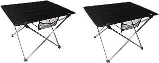 QLPP Mesas Laterales de Camping portátiles con Tablero de Aluminio, Mesa Plegable en una Bolsa para Picnic, Campamento, Playa, Barco, útil para Comer y cocinar con Quemador,B,2pcs