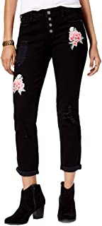 6f93eb30161f5 Black Daisy Juniors' Jamie Ripped Embroidered Relaxed Fit Girlfriend Jeans