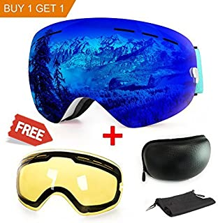 Extra Mile Ski Goggles, Anti-Fog Protection Snowboard Dual Lens for Men Women