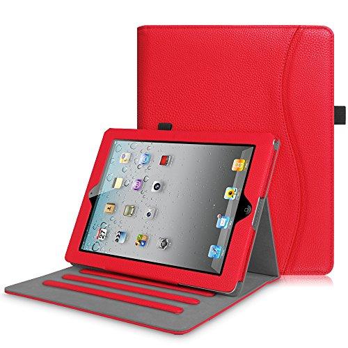 Fintie Hülle für iPad 2 / iPad 3 / iPad 4 (alte Modelle) 9.7 Zoll Tablet - [Eckenschutz] Multi-Winkel Betrachtung Folio Stand Schutzhülle mit Dokumentschlitze, Auto Sleep/Wake, Rot