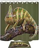 mmptn tenda per doccia per animali chameleon lizard branch set tenda per doccia impermeabile 71x71 pollici in poliestere include dodici ganci in plastica
