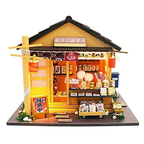 moin moin ドールハウス ミニチュア 手作りキット セット 秋日の雑貨店 駄菓子屋 昭和 和風 日本 LEDライト + 工具4点セット + アクリルケース