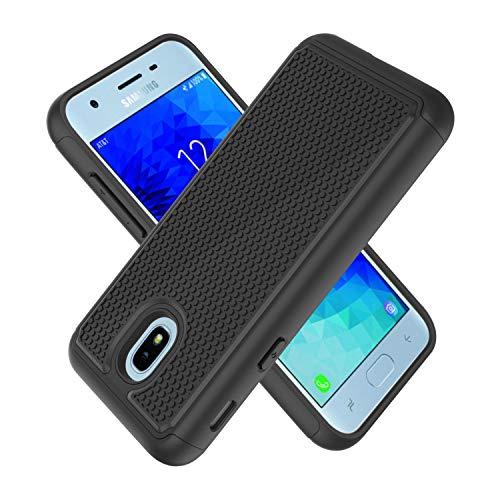 UniSpg for Samsung Galaxy J3 Orbit / J3 2018 / J3 V 3rd Gen / J3 Star / J3 Achieve Phone Case | Heavy-Duty [Military Grade] Shockproof Hybrid Dual Layer Armor Defender Protective Case [Black]
