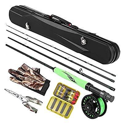 Lixada Fly Fishing Rod and Reel Combo Lightweight Fly Fishing Complete Kit,Carbon Fiber Fly Rod + Fishing Reel with Line + Gloves + Pliers + 12 Flies with Carry Case