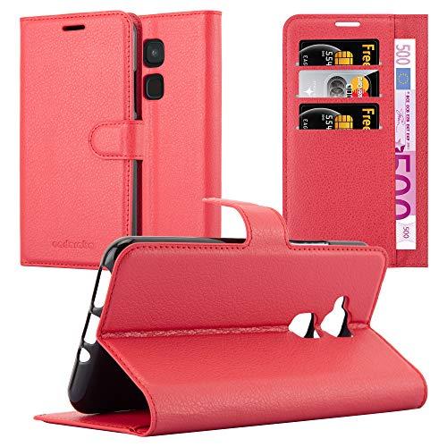 Cadorabo Hülle für BQ Aquaris V/Vs Plus - Hülle in Karmin ROT - Handyhülle mit Kartenfach & Standfunktion - Case Cover Schutzhülle Etui Tasche Book Klapp Style